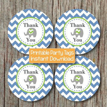 INSTANT DOWNLOAD Birthday Party Thank You Tags Elephant Baby Shower Favor Labels Printable diy Ocean Blue Lime Green Chevron 212