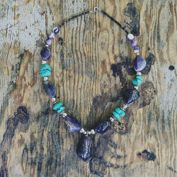 "Turquoise and Amethyst ""Aquene"" Native American Necklace"