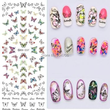 DS237 DIY Designer Beauty Water Transfer Nails Art Sticker Flying Colorful Butterfly harajuku Nail Wraps Sticker Taty stickers