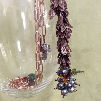 beaded lavender freshwater pearl grape necklace with enameled and copper leaves and amethyst african jade and fire agate stones