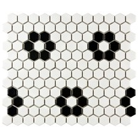 Merola Tile Metro Hex Matte White with Flower 10-1/4 in. x 11-3/4 in. x 5 mm Porcelain Mosaic Tile (8.54 sq. ft. / case)-FDXMHMWF - The Home Depot