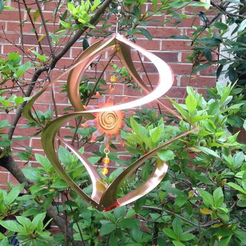 Radiant Sun Copper Finished Metal Wind Spinner