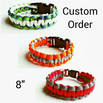 "Custom Paracord Bracelet 8""- Survival Bracelet - Camping Gear - Emergency Bracelet - Military Bracelet - 550 Paracord- Custom Christmas Gift"