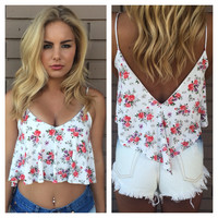 White Floral Tia Crop Top