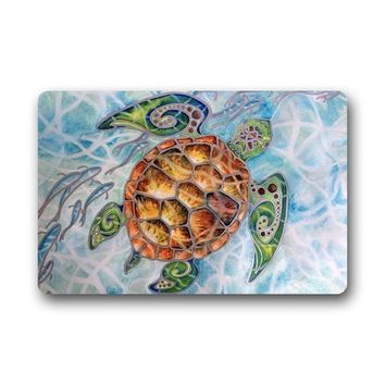 Autumn Fall welcome door mat doormat s Custom Machine Washable Sea Turtle Fabric  Bathroom Kitchen Decor Area Rug/Floor Mat AT_76_7