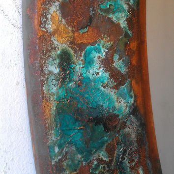 Rusted Iron and Copper Verdigris Art Mirror, Antique Oval Wood Frame, 25 by 19 Inches, Home Decor Mirror