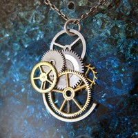 Gear Pendant Dusk Guardian  Clockwork by amechanicalmind on Etsy
