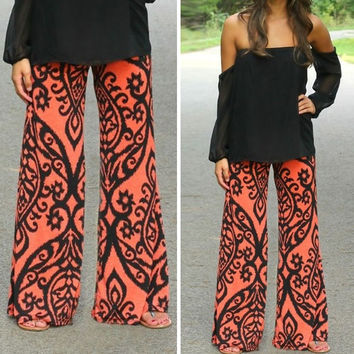 Womens Floral Casual Wide Leg Long Stretch Pants Bohemian Loose Palazzo Trousers = 1928358724
