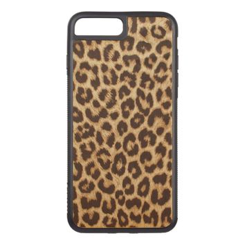 Leopard Print iPhone 7 Plus Bumper Wood Case