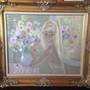 Large Vintage Art Oil Painting IGOR PANTUHOFF Girl with Big Eyes Flowers - Nice!
