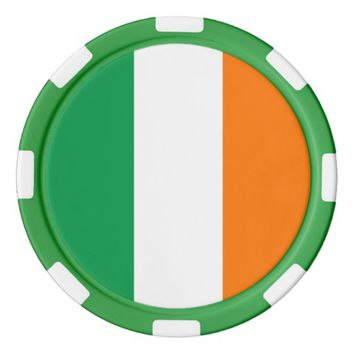 Poker chips with Flag of Ireland