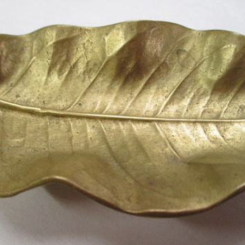 Va Metalcrafters, Lemon Leaf metal dish, copyright 1951, brass? metal dish, VMTC embossed, 5 inches long, metal candy dish, vtg candy dish