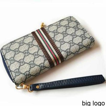 GUCCI Women's Long Wallet Double G Letter Plaid Zip Clutch Blue big G