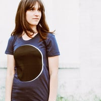 Women's Solar Eclipse - Moon T-Shirt - Navy Blue