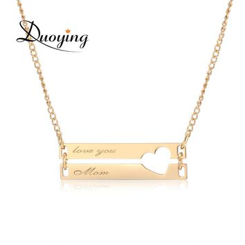 Duoying Double Bar Necklaces Hollow Love Personalized Engraved Custom Charm Necklace for Etsy Couples Sisters Mother Necklaces