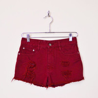 Burgundy Jean Short Denim Short Cut Off Jean Cut Off Short Cutoff Jean Cutoff Short High Waist Short 80s 90s Grunge Festival 27 28 S Small