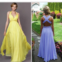 Sexy halter prom dress party dress cocktail dress, beaded ball gown prom dress, floor length party dress formal occasions dress bridal gown