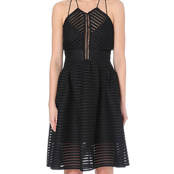 Black Sheer Stripe Crochet Halter Mini Dress with Cut-Out Back Detail