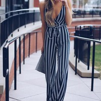 Earn Your Stripes Jumpsuit - Navy/Ivory