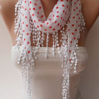 White and Red Polka Dot  Scarf with White Trim Edge