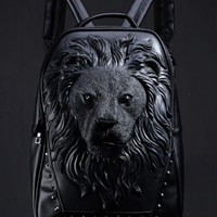 Rubber Lion Head Faux Leather Backpack