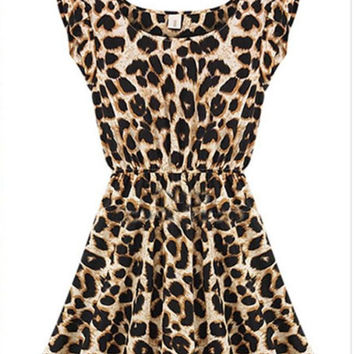 2015 Women's Fashion Leopard Sexy Dresses OL Dress Evening Gown Work Dresses Casual Dresses for Autumn Spring Summer