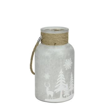 """10"""" Clear Iced White Winter Scene Decorative Christmas Pillar Candle Holder Lantern with Handle"""