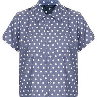 Crop Contrast Polka Dot Shirt - New In This Week  - New In