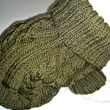 French bulldog size sweater, dog clothes, Bichon Frise, Jack Russell terrier, Westtie,  cosy collar Hand knit in green chunky cable stitch