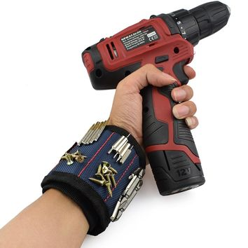 Polyester Magnetic Wristband Tool Bag for Screws Nails Drill Bits and much more.