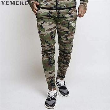 army camouflage Pants Casual Skinny bottom Sweatpants Gyms high street Trousers Pants Men Joggers Slimming pants