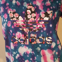 SALE Adidas Tie-Dye T-Shirt Top Womens US Size Medium, Girls, Rainbow, Tumblr Clothing, Pink, Gym, Athletic, Floral, Dip Dyed Festival