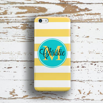 Nautical Iphone 6 Plus case, Striped Iphone 5c case, Girl's iPhone 5 case, Name iPhone 6s case Cute BFF Gifts, Yellow turquoise white (9809P