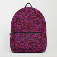 Red scribbled lines pattern Backpacks by Steve Ball
