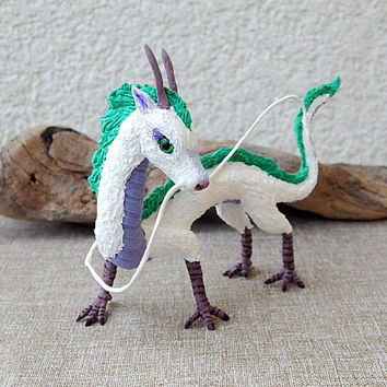 Haku dragon figurine sculpture  handmade of clay, fantasy creature, Hayao Miyazaki, fanart dragon fantasy art, white dragon sculpture