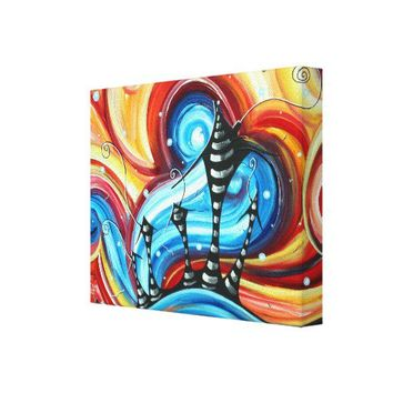 Abstract Whimsical Fun & Funky House Painting ART Stretched Canvas Print from Zazzle.com