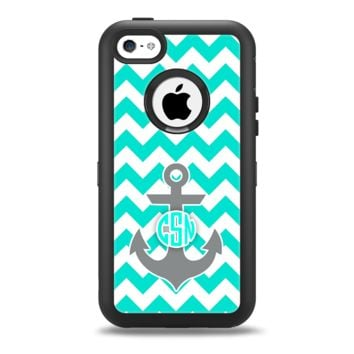 The Teal Green and Gray Monogram Anchor on Teal Chevron Apple iPhone 5c Otterbox Defender Case Skin Set