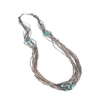 Liquid Silver Necklace, Turquoise Beads, Heishi Necklace, Southwestern Jewelry, Native American Style, Vintage Necklace, Vintage Jewelry