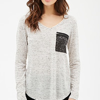 Heathered Colorblocked Pocket Tee