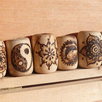 Wooden beads: 8 unique hair bead set dreadlocks, mandala moon yin yang handmade hippie natural wood beads, accessoires for hair and dreads
