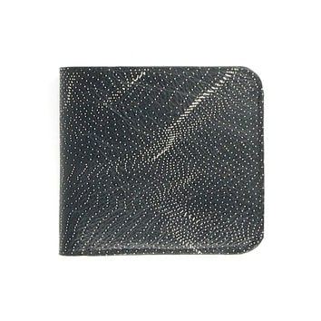 Leather Wallet - Black & White Sound Wave