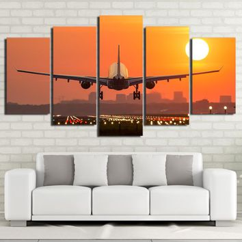 Jet Airplane Taking off at Sunset Canvas Print Wall Art Room Decor