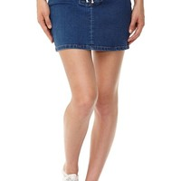 the mini stretch denim skirt