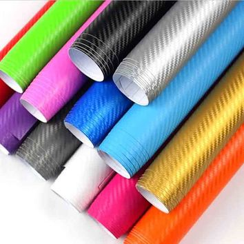 127cm long 3D Carbon Fiber Vinyl Car Wrap Sheet Roll Film Car stickers and Decals Motorcycle Car Styling Accessories Automobiles