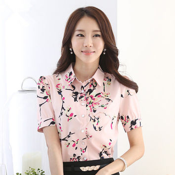New Women Blouse Turn-down Collar Full Sleeve Tee Shirt Casual Button Blouses Fashion Floral Print Plus Size Blusas 71264 SM6
