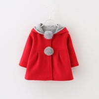 Cute Rabbit Ear Hooded Girls Coat New Spring Top A