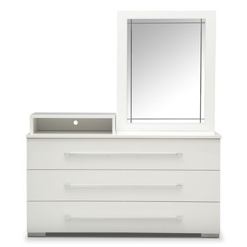 Dimora White Dresser with Deck & Mirror