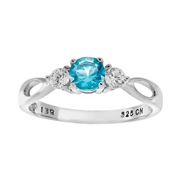 Lab-Created Blue Topaz & Cubic Zirconia Sterling Silver 3-Stone Ring