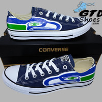 Hand Painted Converse Low Sneakers. Seattle Seahawks. Hawks. Football. Superbowl.12th man. Handpainted shoes. V9
