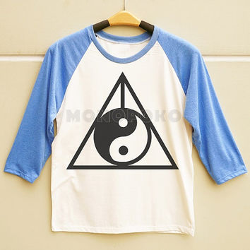 S M L -- Yin Yang TShirts Deathly Hallows TShirts Funny TShirts Men Shirts Women Shirts Long Sleeve Baseball TShirts Raglan Baseball Shirts